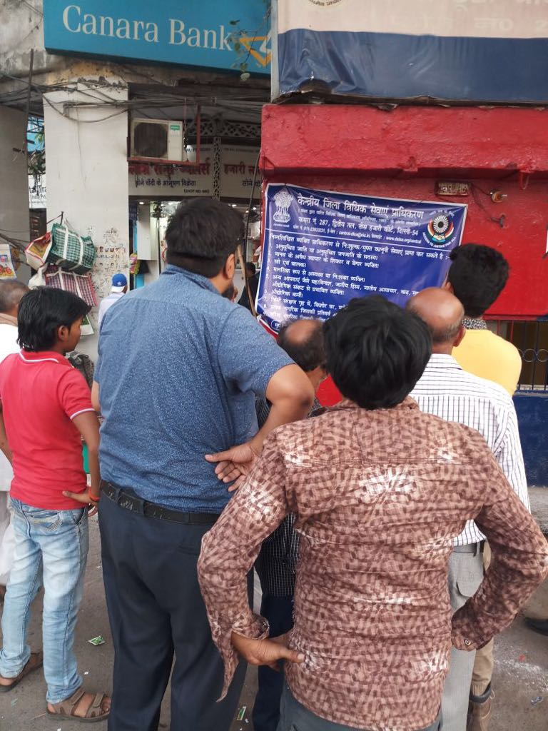 Central DLSA place banners on various conspicuous places in its jurisdiction so that the information about Availability of Free Legal Services and Various Schemes of DSLSA