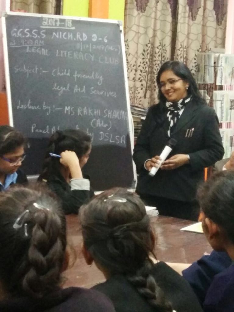 "Central DLSA organised Legal Literacy Class at GGSSS, Nicholson Road, Delhi on 11-12-2017 on the topic of ""Child Friendly Legal Aid Services"