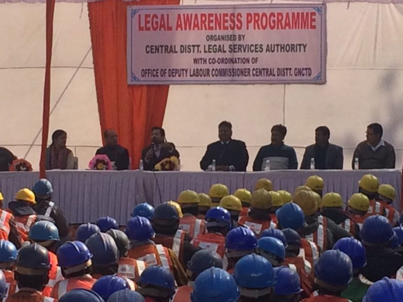 Central DLSA in coordination with Office of Labour Commissioner, Central District, GNCTD organised Legal Awareness Programme for unorganized labourers on the topic unorganized workers social security Act, 2008 and Child Labour ACt, 1986