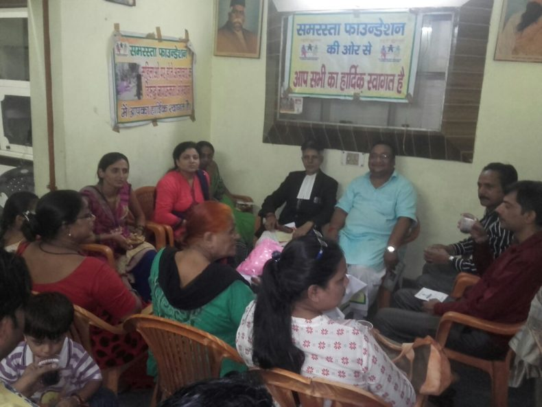 """DLSA East in association with """"Samrasta Foundation – NGO"""" on 08.08.2017 at 10:00 pm at  402, Gali no. 10, Mani Ram Mandir Road, Shahdara, Delhi onwards by conducting a followed by an Awareness Programme on the topic """"Domestic Violence Act """".  Ms. Vidya Sevda, LAC (DLSA)/East,  was the Resource Person for the said programme who participated in Awareness Programmer delivered lecture and had interactive session with the participants.  The programme was appreciated by all concerned."""