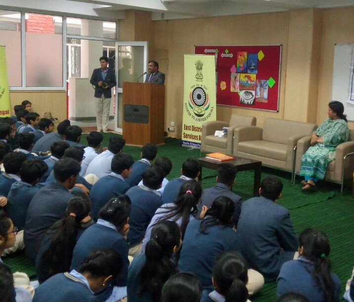"""DLSA (East) organised an Awareness-cum-Sensitization Programme in Salwan Public School, Mayur Vihar, Delhi on 23.11.2017 on the topic """"POCSO, Juvenile Justice & Legal Services being provided by DLSAs"""".  Sh. Pawan Kumar, Secretary (DLSA)/East himself attended the programme as Resource Person and addressed the students on the topics.  He also had interactive session with the students and responded to their queries satisfactorily.  The programme was appreciated by all concerned."""