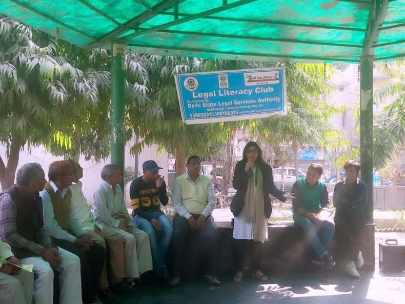 """DLSA East in association with Netheal Charitable Trust organised an Awareness Programme on """"Provisions beneficial for Senior Citizens"""" on 24.2.18 at D Park, Pandav Nagar, Delhi by deputing Ms. Kavita Rani, LAC."""