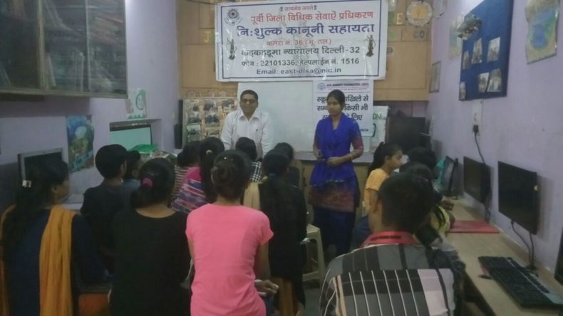 "DLSA East in association with ""JAN-JAGRATI FOUNDATION (NGO)"" conducted an Awareness-cum-Legal Literacy Programme on the topic  ""Right to Education & Services being provided by DLSA"" on 29.03.2018  at 21/247, Trilok Puri, Mayur Vihar-I,  Delhi-110091.  Sh. Umesh Gupta, LAC (DLSA)/East, Karkardooma Courts, Delhi was the Resource Person who  delivered lecture and had interactive session with the participants.  The programme was appreciated by all concerned."