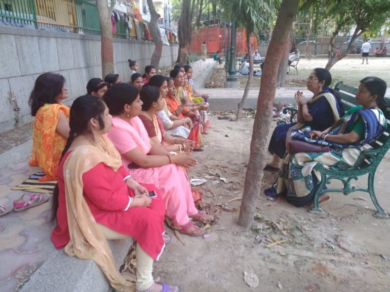 "DLSA East in association with ""Prabodh Vikas Samiti (Regd.)"" conducted an Awareness-cum-Sensitization Programme at Community Level on the topic  ""Domestic Violence & Services being provided by DLSAs"" on 01.04.2018 at 04:00 pm at J-Park, Pandav Nagar, Delhi. Ms. Nirmal Chawla Bhalla, LAC (DLSA)/East, Karkardooma Courts, Delhi was the Resource Person who  delivered lecture and had interactive session with the participants. The programme was appreciated by all concerned."