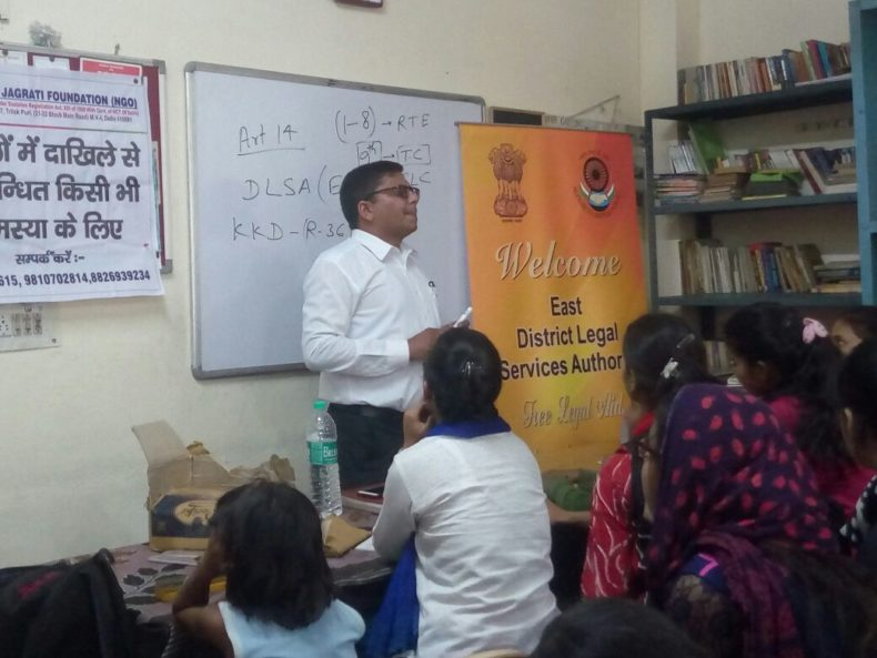 """DLSA East in association with """"Poilce Authorities  of PS : Mayur Vihar and Yuva Project"""" conducted an Awareness-cum-Legal Literacy Programme on the topic  """"Right to Education & Services being provided by DLSA"""" on 03.04.2018  at premises of  PS : Mayur Vihar, Delhi- 110091. Sh. Umesh Gupta, LAC (DLSA)/East, Karkardooma Courts, Delhi was the Resource Person who  delivered lecture and had interactive session with the participants.  The programme was appreciated by all concerned."""