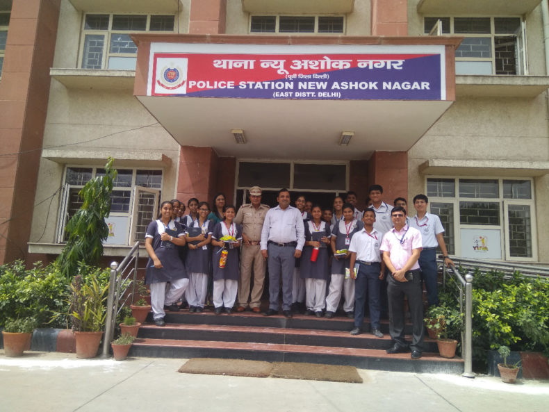 DLSA (East) in association with Police Authorities of PS : New Ashok Nagar and School Authorities of Sommerville School, Vasundhara Enclave, have organised a visit of 20 students of the said school to Police Station :  New Ashok Nagar on 14.5.2018 at 9:00 am onwards to familiarise the students about Functioning and Set up of Police Stations.  Secretary (DLSA)/East visited the Police Station and addressed the students.  SHO of the PS also addressed the students.  Students were shown various wings of the Police Station.  The programme was appreciated by all concerned.