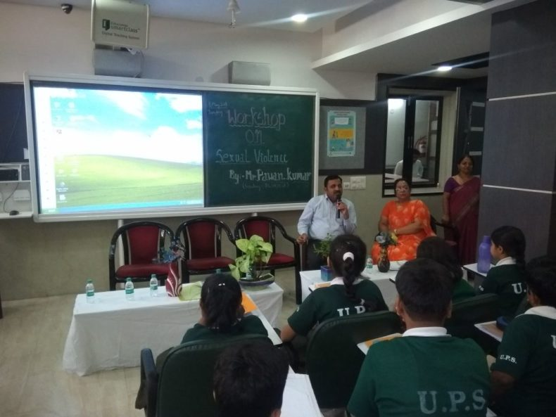 "In compliance of directions of DSLSA, DLSA (East) in association with District Education Authorities organised an Awareness-cum-Sensitization Programme at ""Universal  Public School,  A- Block, Preet Vihar, Delhi  for the students of the school on ""Sexual  Violence  Module"" on 08.05.2018.  Sh. Pawan Kumar, Secretary (DLSA)/East was the Resource Person for the programme who addressed a big number of  students through lectures, PPTs, Videos etc. and had interaction with them."