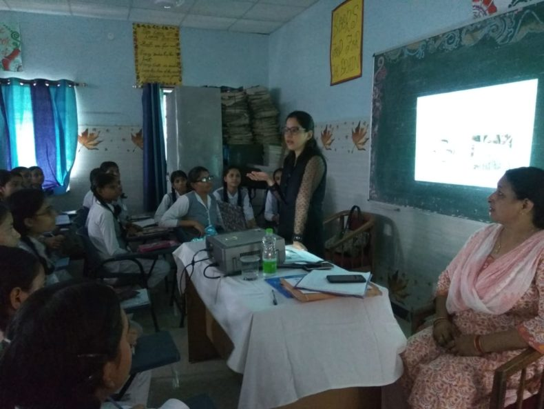 """In compliance of directions of DSLSA, DLSA (East) in association with District Education Authorities organised an Awareness-cum-Sensitization Programme at """"SKV, No-2,  Madhuban Road, Shakarpur, Delhi for the students of the school on """"Sexual Violence Module"""" on 08.08.2018. Ms. Bhawna Chopra Rustagi, LAC  (DLSA)/East was the Resource Person for the programme who addressed a big number of students through lectures, PPTs, Videos etc. and had interaction with them."""