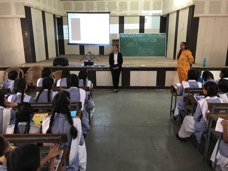 "In compliance of directions of DSLSA, DLSA (East) in association with District Education Authorities organised an Awareness-cum-Sensitization Programme at ""GGSSS, Kailash Nagar, Delhi for the students of the school on ""Sexual Violence Module"" on 02.08.2018.  Ms.  Sonal Chauhan, LAC (DLSA)/East was the Resource Person for the programme who addressed a big number of  students through lectures, PPTs, Videos etc. and had interaction with them."