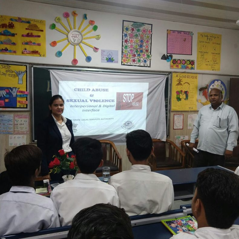 "In compliance of directions of DSLSA, DLSA (East) in association with District Education Authorities organised an Awareness-cum-Sensitization Programme at ""GBSBV, Rani Garden, Delhi  for the students of the school on ""Sexual  Violence  Module"" on 08.08.2018.  Ms. Sonal Chauhan (DLSA)/East was the Resource Person for the programme who addressed a big number of  students through lectures, PPTs, Videos etc. and had interaction with them."