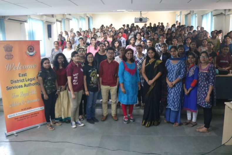 "DLSA East in association with ""Shaheed  Rajguru  College of Applied Sciences for Women"" conducted an  Awareness-cum-Sensitization  Programme on the topic  ""Sexual Harassment at  Workplace  &  Services being provided by DLSA"" on 30.07.2018 at 12:00 pm at Shaheed Rajguru College of Applied Sciences for Women,  Vasundhara Enclave, Delhi. Ms. Shilpa Dalmia,  Advocate, Karkardooma Courts, Delhi was the Resource Person who delivered lecture and had interactive session with the participants."