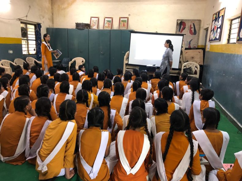 "In compliance of directions of DSLSA, DLSA (East) in association with District Education Authorities organised an Awareness-cum-Sensitization Programme at ""SKV, Geeta Colony, Delhi for the students of the school on ""Sexual Violence Module"" on 09.08.2018. Ms. Bhawna Chopra Rustagi, LAC  (DLSA)/East was the Resource Person for the programme who addressed a big number of students through lectures, PPTs, Videos etc. and had interaction with them."