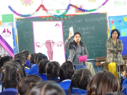 "As approved by Ld.  District & Sessions Jude/ Chairperon,  DLSA (East), this Authority in Co-ordination with Sachhi Saheli – NGO, in  continuation of  Phase-II,  of  campaign ""Sangini"", organised sensitization programme about ""Menstrual Health and Hygiene amongst adolescent""  girls in the schools in order to help them contiune their education without  absence so as to realize the constitutional goal of Right to Education, at SKV, Khichripur Village,  Delhi on 22.11.2018."