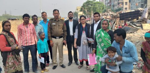 "In compliance of directions of Delhi State Legal Services Authority and as directed by the Ld. District & Sessions Judge/Chairman (DLSA)/East, to celebrate ""National Legal Services Day"" ,   with a view to create awareness amongst masses at down trodden areas  of East District,  this Authority has Launched  a Ten days (15 Prog.) ""Door to Door Campaign"" from 15.11.2018 to 24.11.2018.  During the campaign,  a team consisting of  Ms. Kirti Madan,  LAC & Sh. Shubham Gangwar, PLV & Sh. Rohan Sharma, PLV  visited  P.S. New  Ashok Nagar, Beat No.2, Delhi  and distributed pamphlets, booklets and had interaction with the general public on 18.11.2018."