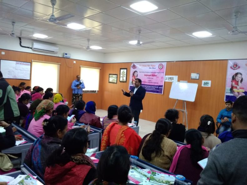 "Office of District Magistrate (East) in association with DLSA(East) under the ""Beti Bachao Beti Padhao"" Scheme, organised Training  Programmes for Aaganwadi and Asha Workers of East District on the topics of Legal Concept, Legal Aspect Child Abuse & etc., Gender Sensitization, Menstruation, Health & Hygiene & PC & PNDT on 10.01.2019 at 09 :00 am to 01:00 pm at SKV, Govt, school, West Vinod Nagar, Delhi by deputing Legal Aid Counsels,  Dr. Surbhi Singh, & Dr. Satyajeet  as Resource Persons.  Secretary (DLSA)/East also addressed and interactive session with the participants."
