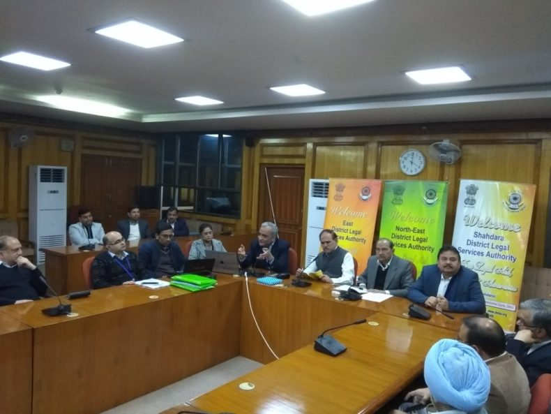"""DLSA East in association with DLSA (Shahdara & North-East) oganised a Sensitization-cum-Awareness Programme for all the Judges of Karkardooma Courts on the topic """"Insight to the Provisions of Mental Healthcare Act. 2017"""" on  08.02.2019 at 03: 30 pm  at Conference Hall, Karkardooma Courts, Delhi.  Dr. Nimesh G. Desai, Director, IHBAS was the Resource Person to deliver lecture and have interactive session with the participants.  Ld. District & Sessions Judges of all the three districts of Karkardooma Courts, graced the occasion."""