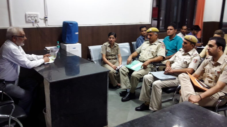 """An Awareness programme on Sensitization of police officials on """"Protection of Children from Sexual Offences Act, 2012"""" at Connaught Place Police Station, New Delhi on 31.08.2017 by Sh. Ravi Qazi, LAC."""