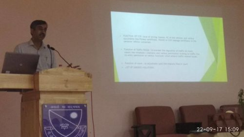 """ON 22.09.2017, Sh. ChanderJit Singh, Ld. Secretary in New Delhi DLSA delivered a lecture in PG DVA College , New Delhi on the topic """"Traffic Discipline with Special Focus on Provisions of Motor Vehicle Act and Compensation and Claims there of""""."""