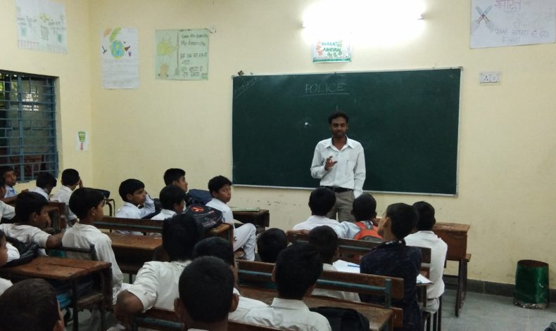 """New Delhi District Legal Services Authority Organised LLC programme on """"Senior Citizens"""" Schemes at Govt. Boys Sr.Secondary School R.K.Puram, Sec-3 on 23.09.2017. Sh. Chandra Shekher Yadav delivered the lecture as a Resource Person."""