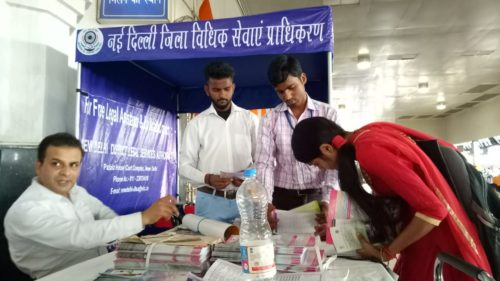 Legal Awareness Programme conducted at Old Delhi Railway Station by Sh. Mohd. Shahzad Resource Person, NDDLSA on 25.05.2018 making the people aware of free legal services in Delhi.