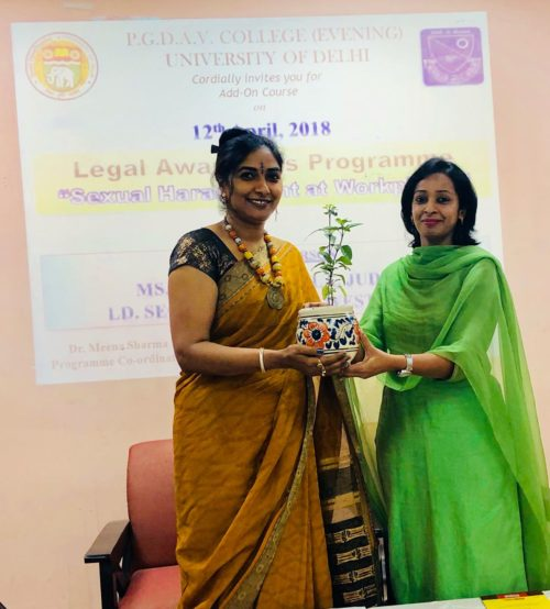 """Legal Awareness Program at PGDAV College, Sri Niwas Puri, New Delhi on the topic """"Sexual Harassment at Workplace"""" on 12.04.2018"""