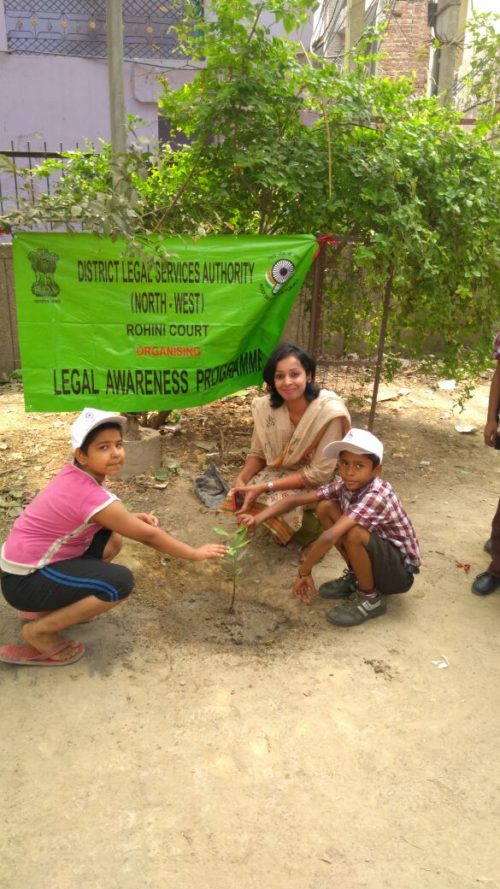 DLSA, NW celebrated World Environment Day on 05.0.2018 by planting new plants at Sultan Puri, Delhi. Ms. Ruchika Singla, Secretary, DLSA, NW participated and encouraged people to plant more trees and save the environment