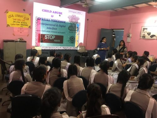 """A Sensitization Programme on Sexual Violence – """"Child Abuse Violence Interpersonal and digital World"""" was organized by DLSA, NW on 24.08.2018 at Govt. Girls Senior Secondary School, BC-Block, Sultan Puri, Delhi"""