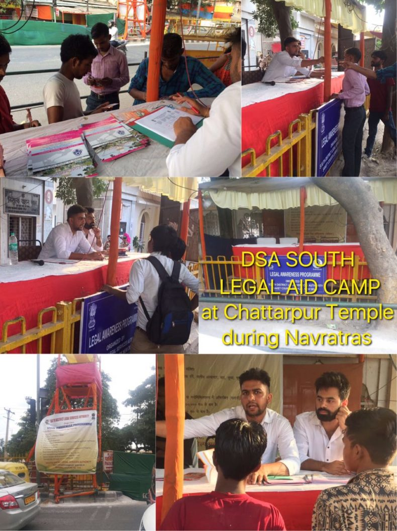 Dlsa South Elished Legal Service Clinics Help Desk At Chattarpur Temple Mehrauli Delhi On 21 09 2017 To 28