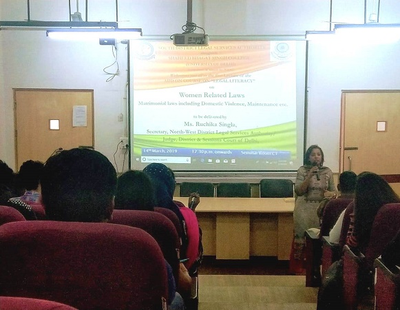 """DLSA (SOUTH) CONVENED THE ADD ON COURSE ON """"LEGAL LITERACY"""" AT SHAHEED BHAGAT SINGH COLLEGE ON 14.03.2019"""