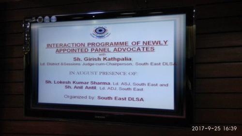 DLSA South Organized by Interaction Programme of Newly appointed panel Advocates on 25.09.2017