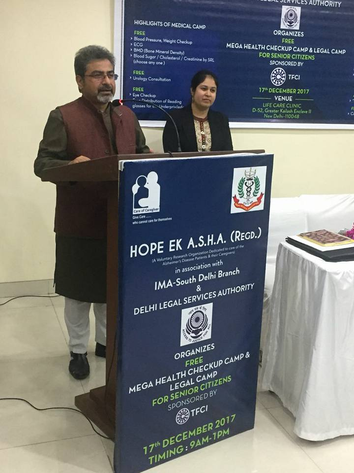 DLSA(SE) with Hope Ek Asha organized a Medical cum Legal Camp for Senior Citizens on 17.12.2017