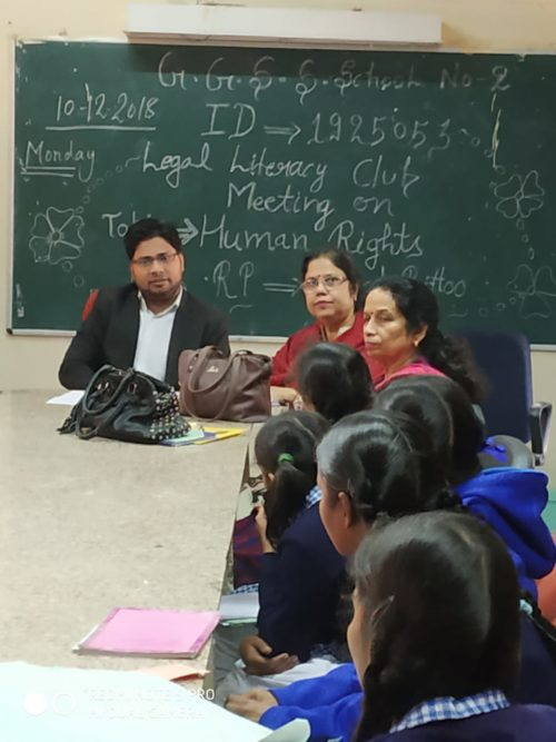 DLSA(SE) conducted Legal Literacy Classes Programme at school namely GGSSS, Molarband, New Delhi on 10.12.2018