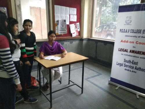 Legal Aid Services Clinic in PGDAV Collage on 17.01.2019