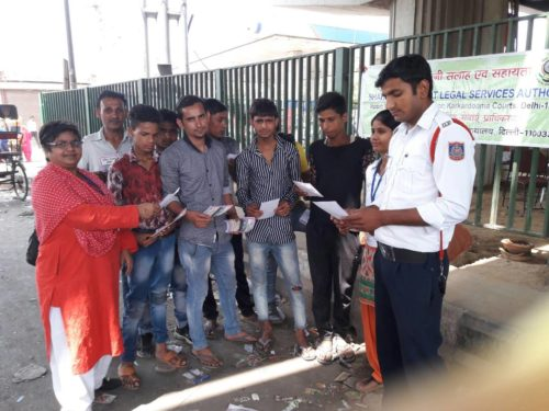 "DLSA Shahdara organized a Global Road Safety Week on ""Traffic Laws"" at Dilshad Garden Metro Station"