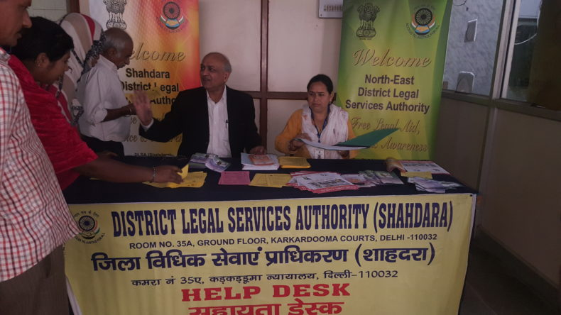Set-up Help Desk at conspicuous places within the premises of Karkardooma Court Complex
