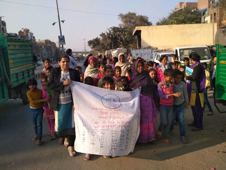 "Legal Awareness Camp and Nukkad Natak on the topic ""Child Sexual Abuse"" at Gali No. 12, Janta Mazdoor Colony, Peeli Mitti, Shahdara, Delhi on 02.12.2017."
