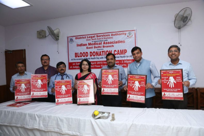 Blood Donation Camp was organized by DLSA Shahdara, DLSA East & DLSA North East in association with Indian Medical Association, East Delhi Branch on 07.04.2018 at Judges Lounge, 3rd Floor, Karkardooma Court Complex, Delhi.