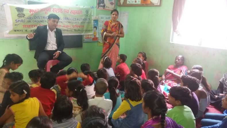 "DLSA Shahdara organized Legal Awareness Programme on the topic ""Protection of Children from Sexual Violence Offences Act, 2012 "" at L-Block, Janta Mazdoor Colony, Welcome, Delhi on 19.05.2018."