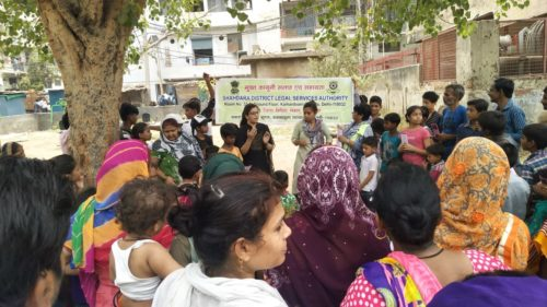 """DLSA Shahdara in association with DLSA North East organized a Legal Awareness Programme in observance of """"World Environment Day"""" on 05.06.2018 on the topic """"Beat the Plastic"""" at Jhilmil Colony, Park of Sonia Camp, Dilshad Garden, Delhi."""