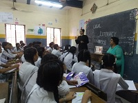 "Legal Literacy Classes on Module of Sexual Violence ""Child Abuse and Violence-Interpersonal and Digital World"" was conducted for Children studying in class 9th to 12th Class at Govt. Girls Senior Secondary School, West Jyoti Nagar, Delhi on 20.07.2018."
